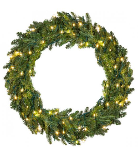 CLP13726 24 Inch LED Commercial Grade Fraser Fir Prelit Wreath 50 Warm White LED 5mm Lights