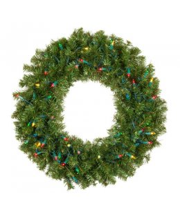 CLP13044 36 Inch LED MULTI-COLOR Commercial Grade Douglas Fir Prelit Wreath 100 Multi-color LED 5mm Lights