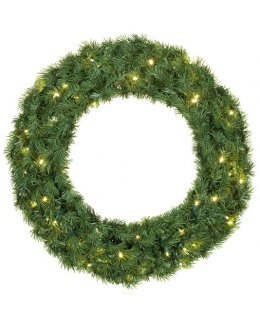 CLP12278 24 Inch LED Commercial Grade Balsam Fir Prelit Christmas Wreath 50 WARM WHITE LED Lights
