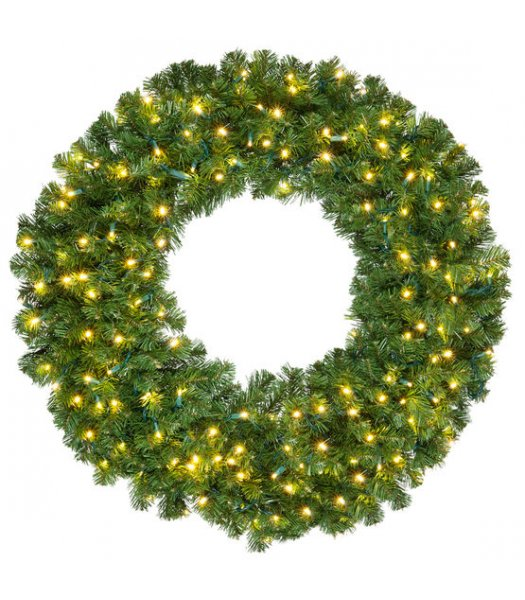 CLP14190 36 Inch LED Commercial Grade Olympia Pine Prelit Christmas Wreath 150 WARM WHITE LED Lights
