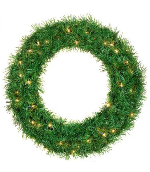 CLP12276 24 Inch LED Commercial Grade Dunhill Fir Prelit Wreath 50 Warm White LED 5mm Lights