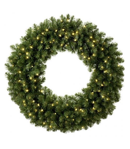 CLP7352 24 Inch INCANDESCENT Commercial Grade Sequoia Fir Prelit Christmas Wreath, 50 Clear Mini Lights