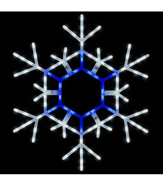CLP13786  36 Inch Blue and Cool White Folding Snowflake