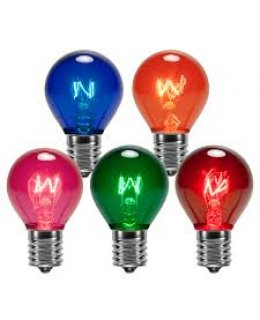CLP12395 E17-C9 Base S11 10W Incandescent Assorted Multi-Color Transparent Patio Light Bulbs  PACK OF 25