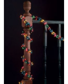 CLP8354 9 ft Garland Lights, 300 Multicolored Lamps, Green Wire