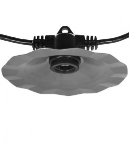 "CLU71513  48' E26 Commercial Patio Light Stringer, Galvanized Silver Shade, Black Wire, 36"" Spacing"