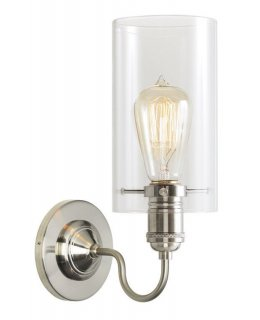 Stone Lighting Model WS179CRPNRT6B Retro Cylinder Wall Sconce Light Polished Nickel Clear Finish