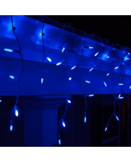 CLP5860 LED Blue Icicle Lights on 7.5 Ft White Wire