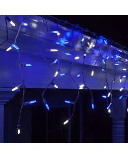 CLP5871 LED Blue & Cool White Icicle Lights on 7.5 Ft White Wire