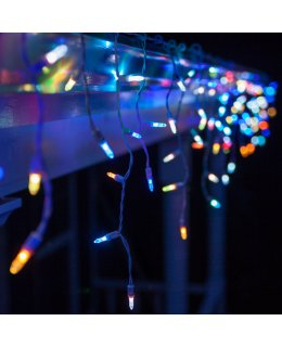 CLP12143 LED COLOR CHANGING Icicle Lights on 6 Ft White Wire