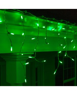 CLP5881 LED Green Icicle Lights on 7.5 Ft White Wire