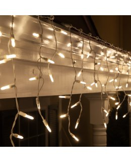 CLP5866 7.5 ft Warm White M5 LED Icicle Lights on White Wire